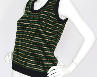 Eva Fisher Couture London 1970s Vintage Metallic Glam Sweater Top Sz S