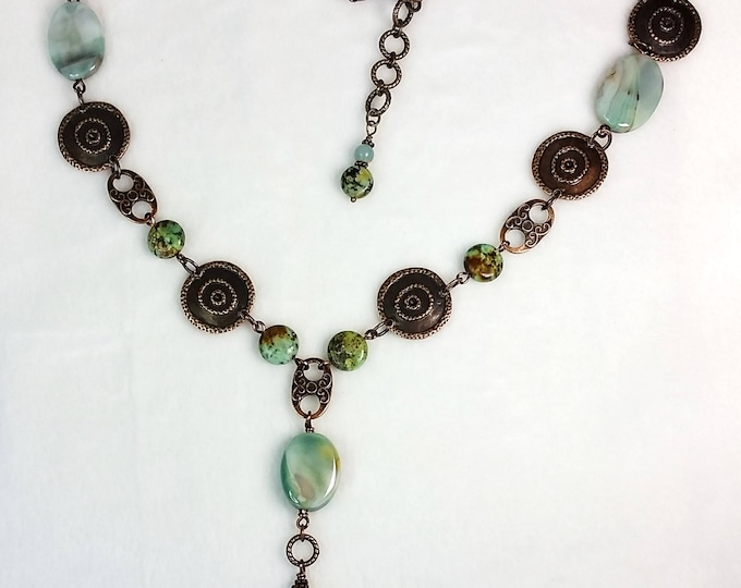 Amazonite and Antique Copper - Aqua and Copper Jewelry - Tassel Jewelry - Long Necklace - Adjustable Length Necklace