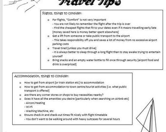 Travel Tips and Travel Checklist/Plan