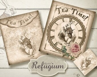 printable Tea Bag Envelope, printable  Alice in Wonderland, Digital Collage Sheet, tea time with the white rabbit/  INSTANT DOWNLOAD