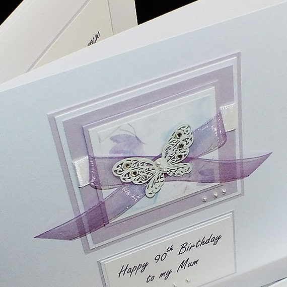 Luxury handmade birthday card large lilac like this item bookmarktalkfo Images