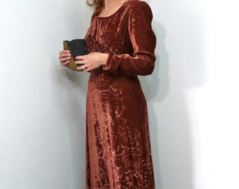 Vintage 60s Velvet dress Maroon Burnout 30s design gown Evening Long Sleeve Dress S/M