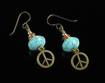 Peace Sign Earrings, Boho Brass Peace Symbol Earrings, Turquoise Niobium Earrings, Unique Hippie Jewelry Birthday Gift for Girlfriend, Wife