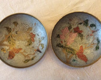 2 pretty leaded enamel cloisonné brass vintage mid 20th century