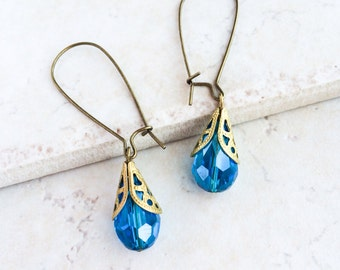 Turquoise Crystal Dangle Earrings, Turquoise Blue Drop Earrings