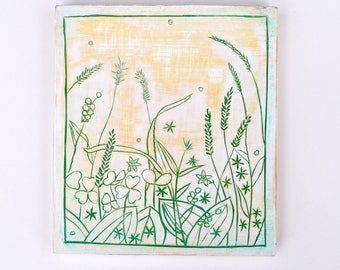 Summer grass/ Poplar / Relief/ Carving/ Flowers/ Painting/ Drawing