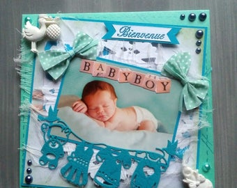 Card congratulations baby, hand made, 3D, shabby, baby boy theme.