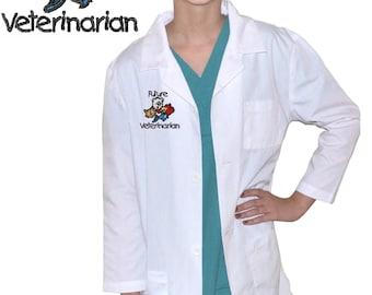 Kids Veterinarian Lab Coat with Animals for little Doctors and Nurses