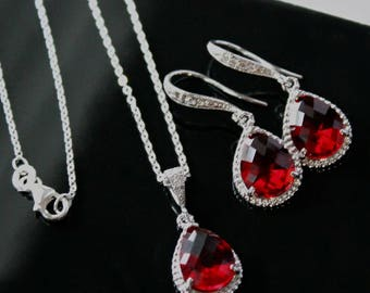 Brilliant Red Teardrop Crystals in Silver or Gold Settings on Crystal Detailed French Earrings and Matching Necklace, Jewelry Set