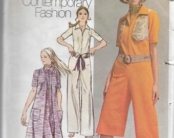 "JIFFY Sleeveless Wide Legged Jumpsuit / Palazzo Romper & Bolero - Size 10 (Bust 32.5"") - Vintage Sewing Pattern Simplicity 9213"