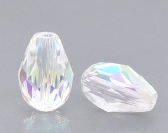 x 10 glass Crystal beads drop faceted 11 x 8 mm
