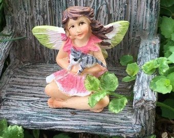 "SALE Mini Micro Fairy ""Bella"" with Cat Figurine, Fairy Garden Accessory, Garden Decor, Topper, Terrarium Accessory"