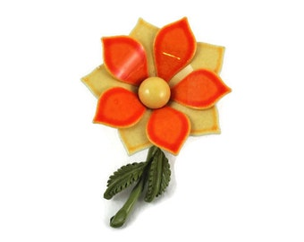 Bright and Bold Orange and Peach Vintage Enamel Flower Pin - Jewelry for Spring