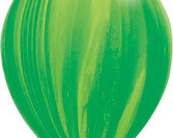 "11"" Green Marble Balloons: Wedding, Shower, Birthday, Baby, Graduation, Bachelorette, Halloween, Monster, Agate, 2018, Watermelon, First"