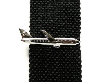Airplane tie clip wedding groomsmen gift for men pilot airliner vintage plane tie clips