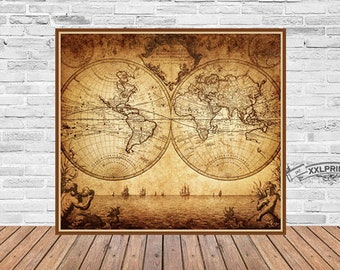 Antique world map etsy antique world map at 1780 old map art deco fine reproduction vintage gumiabroncs Gallery