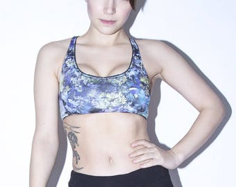 LAYLA yoga top / crop top bra in your choice of printed fabrics, handmade activewear / crossfit / gym top - ethical clothing to order
