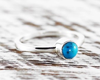 Turquoise Silver Ring 925 Sterling Womens Rings Personalized Birthstone
