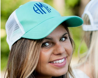 Monogrammed Truckers Hat Personalization Cap Baseball Hat