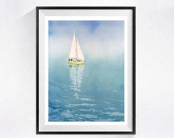Sailboat, Beach, Seashore, Ocean, Wall art, Print, Fine art, Sailing Beach house decor, Watercolor print, Nautical print, Blue painting