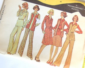 Uncut Vintage Sewing Pattern - 1970s Blouse, Vest, Skirt and Pants McCalls 4225 Pattern,  Bust 41 Inches, Size 18.5