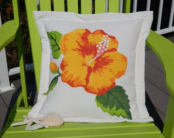 "Outdoor pillow HIBISCUS flower 20""x20"" handpainted lumbar all weather tropical edible flower houseplant Crabby Chris Original"