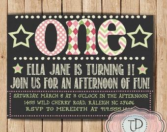 1st Birthday Party Invitation, Girl Birthday Invitation