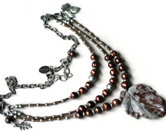 Burgundy Marsala and Gray Pearl and Jasper Three Strand Boho Style Leaf Pendant Necklace