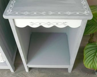 Gray weathered and white nightstand