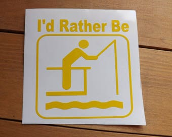 I'd Rather Be Fishing decal-sport decal-Fishing decal-water sport decal-window-car-truck -laptop-yeti-mug-tumbler-coffee cup decal