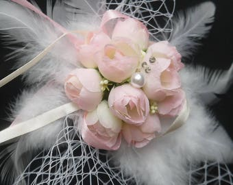roses bridal headpiece veiling bridal comb white feather headdress rose wedding flowers hair accessory wedding party hair decor veiling comb