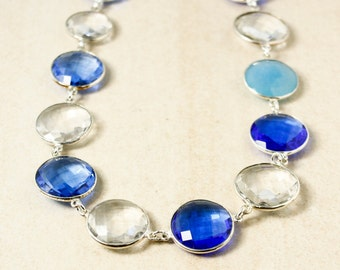 Blue Quartz, Crystal Quartz and Blue Chalcedony Bib Necklace – 925 Sterling Silver
