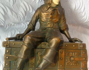JB Hirsch 1920s Vintage Pirate & Treasure Chest Bookend