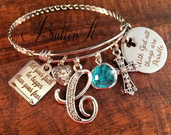 FAITH bracelet, BAPTISM gift Christian jewelry, charm bracelet, Inspirational jewelry, with God all things are possible, Arrow birthday gift