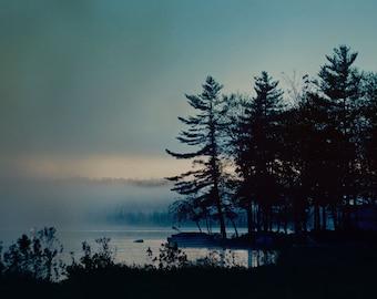 Landscape Photography, Tree Print, Dark Moody Art, Blue Decor, Dreamy Surreal Photo, New Hampshire Photo, Nature Print, Foggy Lake Photo