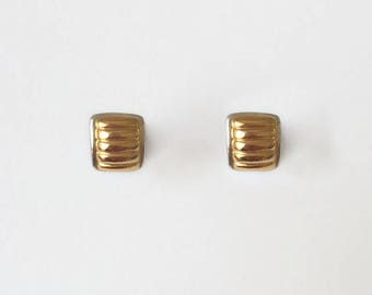 Vintage 1970's Gold Silver Curved Square Ridged Lined Small Clip On Earrings