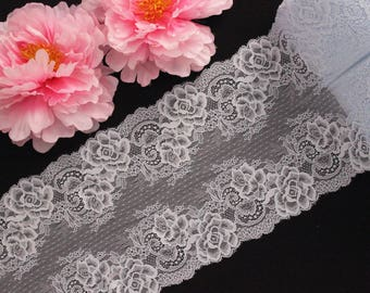 "1 YD Pale Blue 8.5"" Floral Stretch Lace for Bramaking Lingerie"