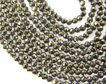 12.5 inches-1 strand Natural Pyrite, Labradorite beads-2mm Roundel Faceted Beads For-making Jewelry-Semi Precious Beads-Charm Beads-SHST3098