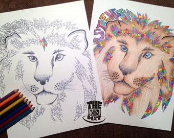 Adult Color Page Digital Download Printable Autism Puzzle Piece Lion Color Page