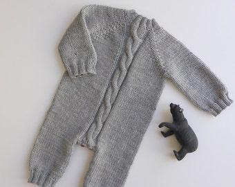 Knit baby romper - merino romper -  handmade onesies - baby pants - newborn overalls - baby jumpsuit - baby photo props - knit bodysuit