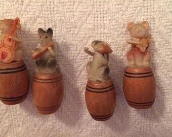 Vintage 1940's Six Celluloid Dogs With Instruments on Barrels Toys Dog Band