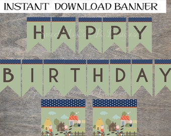 Three Little Pigs Banner | Happy Birthday | Storybook Big Bag Wolf Huff and Puff Little Piggies Printable banner