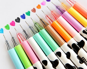 Set of 12 color pens, Cute Cow Color Pens, Painting pen, marking pen. pink pen, green pen, Multicolor pen, colorful writing