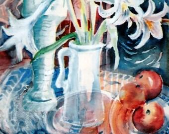 "Lilies, Apples, Mythological art "" ""Still Life with Egyptian Shawabti- ""- Original watercolour painting -Art gift,"
