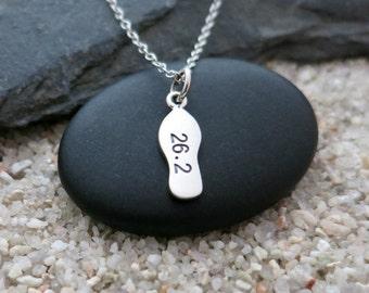Marathon Necklace, Sterling Silver 26.2 Marathon Charm, Marathon Jewelry