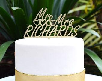 Mr & Mrs Wedding Custom Personalized Name Cake Topper - Bride and Groom Wedding Cake Topper