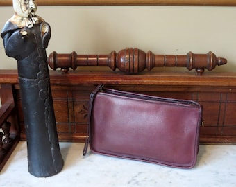 Etsy BDay Sale Coach NYC Beautiful Burgundy Basic Bag- Made In New York City U.S.A. Very Good Condition- Wristlet In Tact -Strap Missing