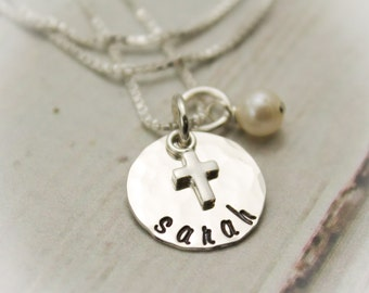 Tiny Cross Necklace for Confirmation or First Communion Sterling Silver Personalized Hand Stamped Jewelry