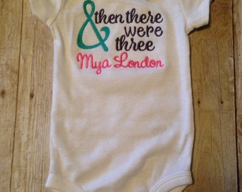 And Then There Were Three Baby Bodysuit, Personalized Baby Gift