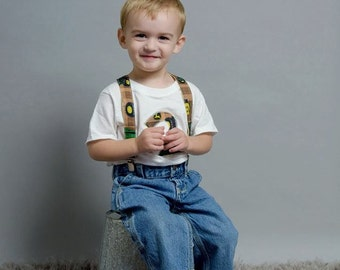 Tractors Birthday Shirt Jeans Suspenders: Boy Outfit, yellow, green, brown, first birthday, photo shoot, adjustable, removable, upcycled